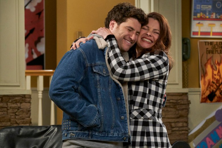 "INDEBTED -- ""Pilot"" Episode 101 -- Pictured: (l-r) Adam Pally as Dave, Fran Drescher as Debbie -- (Photo by: Trae Patton/NBC)"