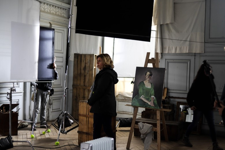 "Claire Mathon on the set of ""Portrait of a Lady on Fire"""
