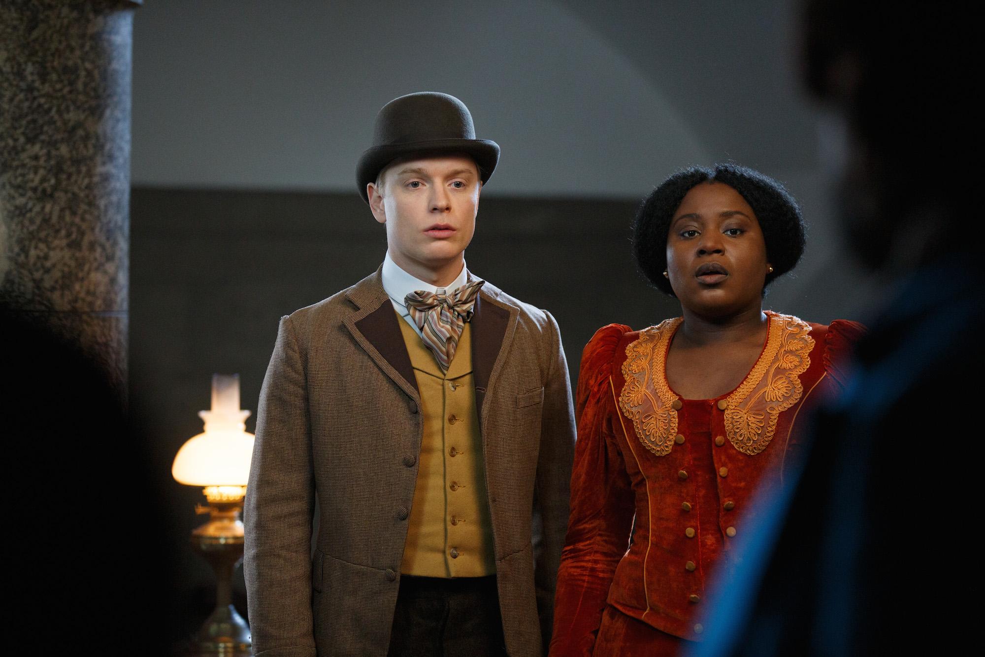 Freddie Fox as Strauss, Susan Wokoma as Mabel Wisbech- Year of the Rabbit _ Season 1, Episode 4 - Photo Credit: Ben Meadows/IFC