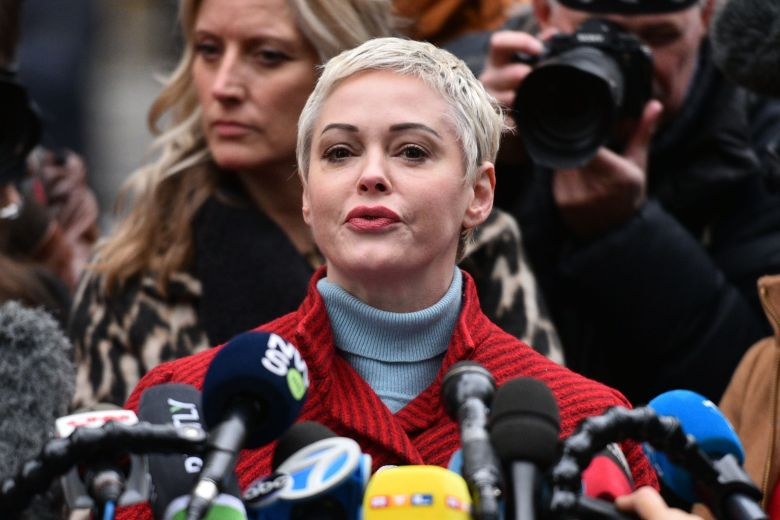 Rose McGowan speaks at a press conference outside the Criminal Court in New York.Harvey Weinstein court hearing, New York, USA - 06 Jan 2020