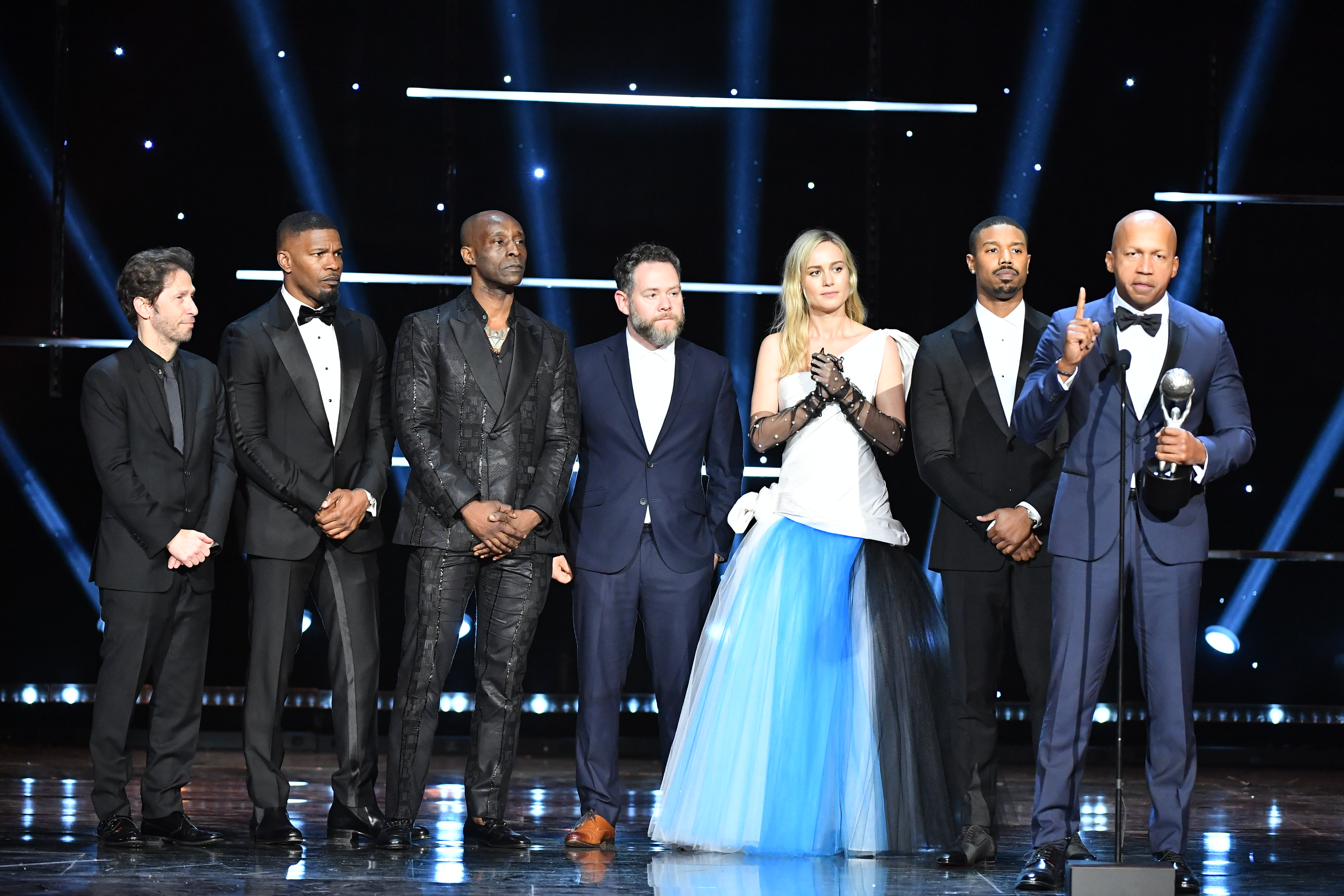 Tim Blake Nelson, Jamie Foxx, Rob Morgan, Asher Goldstein, Brie Larson, Michael B. Jordan and Bryan Stevenson51st Annual NAACP Image Awards, Show, Pasadena Civic Auditorium, Los Angeles, USA - 22 Feb 2020