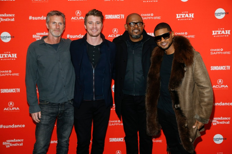 "Usher, Usher, Andrew Heckler, Garrett Hedlund, Forest Whitaker. From left to right, writer and director Andrew Heckler, Garrett Hedlund, Forest Whitaker, and and singer Usher pose at the premiere of ""Burden"" during the 2018 Sundance Film Festival, in Park City, Utah2018 Sundance Film Festival - ""Burden"" Premiere, Park City, USA - 21 Jan 2018"