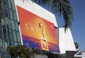 Workers set up the official poster of the 72nd Annual Cannes Film Festival72nd Cannes Film Festival, Preparations, France - 12 May 2019