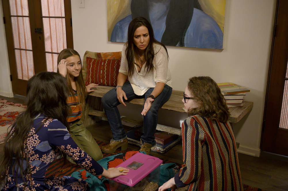 "Better Things Season 4 ""What's good, Shannon?"" Episode 2 (Airs Thursday, March 5) -- Pictured: (l-r) Mikey Madison as Max, Olivia Edward as Duke, Pamela Adlon as Sam Fox, Hannah Alligood as Frankie. CR: Suzanne Tenner/FX"