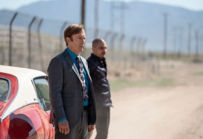 Bob Odenkirk as Jimmy McGill, Michael Mando as Nacho Varga - Better Call Saul _ Season 5, Episode 3 - Photo Credit: Greg Lewis/AMC/Sony Pictures Television