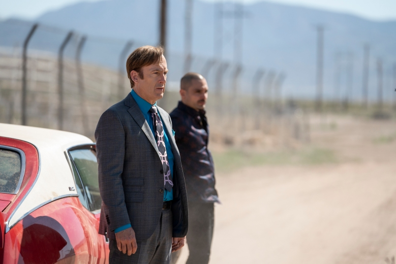 Bob Odenkirk as Jimmy McGill, Michael Mando as Nacho Varga - Better Call Saul _ Season 5, Episode 3 - Photo Credit: Greg Lewis/AMC/Sony Pictures Television