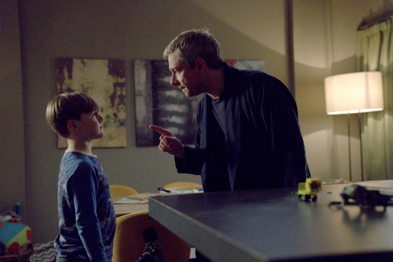"BREEDERS ""No Sleep"" Episode 1 (Airs Monday, March 2) -- Pictured: (l-r) George Wakeman as Luke, Martin Freeman as Paul. CR: Miya Mizuno/FX"