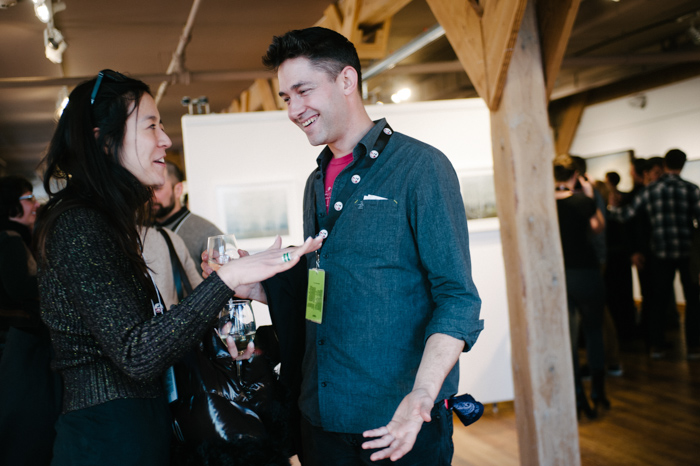 David Wilson chats candidly with Chai Vasarhelyi during the Filmmakers Fete at PS:Gallery on Saturday. (photo by Rebecca Allen)