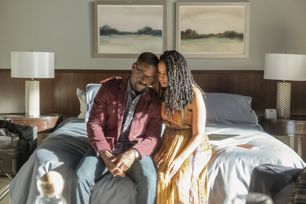 "THIS IS US -- ""Strangers: Part Two"" Episode 418 -- Pictured: (l-r) Sterling K. Brown as Randall, Susan Kelechi Watson as Beth -- (Photo by: Ron Batzdorff/NBC)"