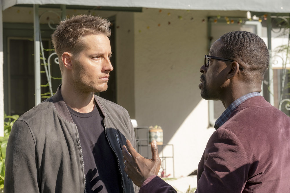 "THIS IS US -- ""Strangers: Part Two"" Episode 418 -- Pictured: (l-r) Justin Hartley as Kevin, Sterling K. Brown as Randall -- (Photo by: Ron Batzdorff/NBC)"
