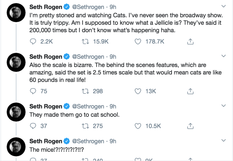 Seth Rogen Got Stoned, Watched 'Cats,' and Lost His Mind: 'I Don't Know What's Happening'