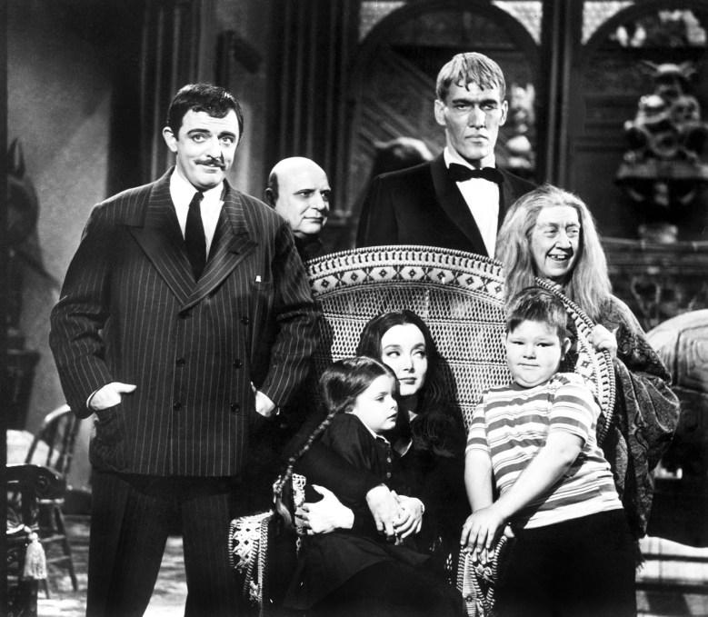 ADDAMS FAMILY, [standing] John Astin, Jackie Coogan, Ted Cassidy, Blossom Rock, (aka Marie Blake), [sitting] Lisa Loring, Carolyn Jones, Ken Weatherwax, 1964-1966
