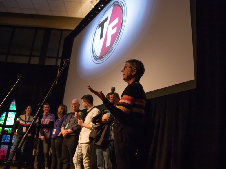 The filmmaking team of AMERICAN FACTORY participate in a Q&A following the screening of the film on Friday, March 1, 2019. (Photo by Frank Finley)