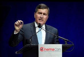 "Charles Rivkin, chairman and CEO of the MPAA, addresses the audience during the ""State of the Industry"" presentation at CinemaCon 2019, the official convention of the National Association of Theatre Owners (NATO) at Caesars Palace, in Las Vegas, Nev2019 CinemaCon - The State of the Industry, Las Vegas, USA - 02 Apr 2019"