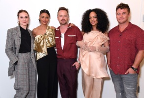 "NORTH HOLLYWOOD, CALIFORNIA - MARCH 06: (L-R) Evan Rachel Wood, Thandie Newton, Aaron Paul, Tessa Thompson, and Luke Hemsworth attend the screening & panel discussion of the HBO drama series ""Westworld"" at Wolf Theatre on March 06, 2020 in North Hollywood, California. (Photo by Jeff Kravitz/FilmMagic for HBO)"