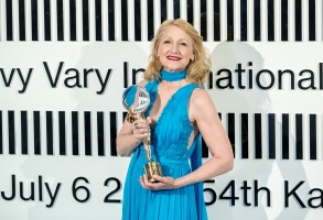 Patricia Clarkson poses with her Crystal Globe for Outstanding Contribution to World Cinema she received during the closing ceremony of the 54th Karlovy Vary International Film Festival, in Karlovy Vary, Czech Republic, 06 July 2019.Closing Ceremony - 54th Karlovy Vary Film Festival, Czech Republic - 06 Jul 2019