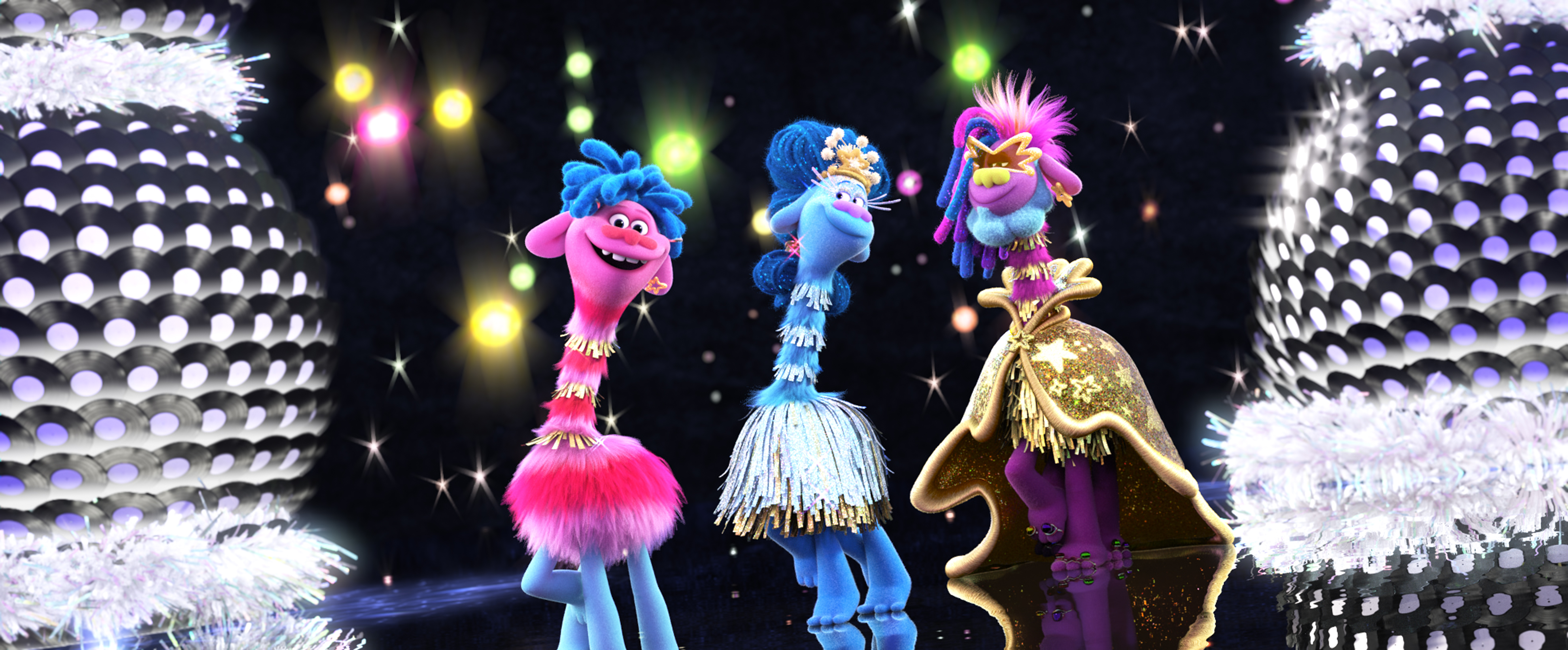 "(from left) Prince D (Anderson .Paak), Queen Essence (Mary J. Blige) and King Quincy (George Clinton) in DreamWorks Animation's ""Trolls World Tour,"" directed by Walt Dohrn."