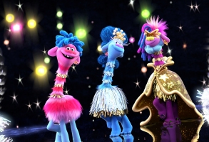 """(from left) Prince D (Anderson .Paak), Queen Essence (Mary J. Blige) and King Quincy (George Clinton) in DreamWorks Animation's """"Trolls World Tour,"""" directed by Walt Dohrn."""