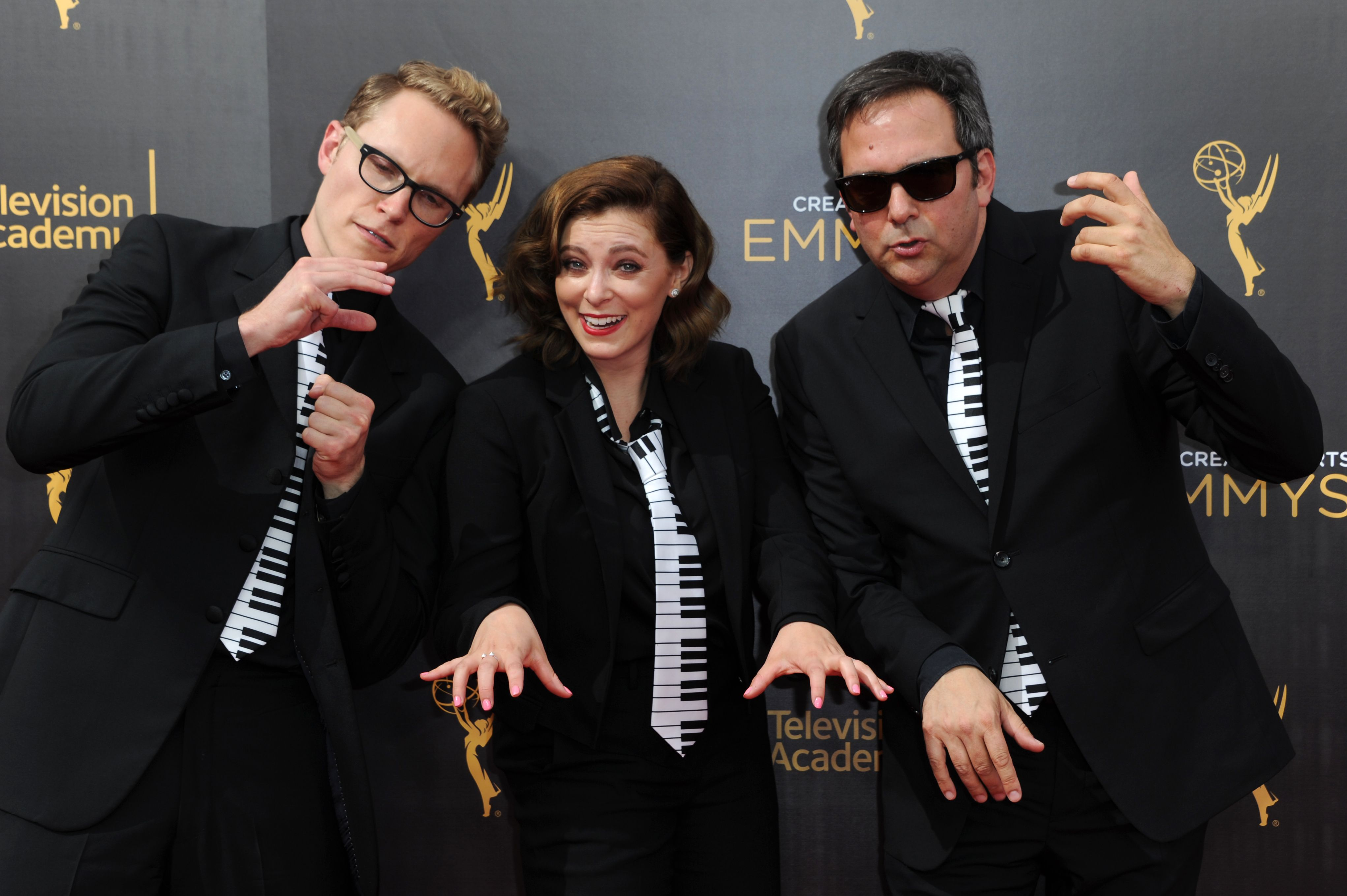 Jack Dolgen, from left, Rachel Bloom, and Adam Schlesinger arrive at night one of the Creative Arts Emmy Awards at the Microsoft Theater, in Los Angeles2016 Creative Arts Emmy Awards - Arrivals - Night One, Los Angeles, USA