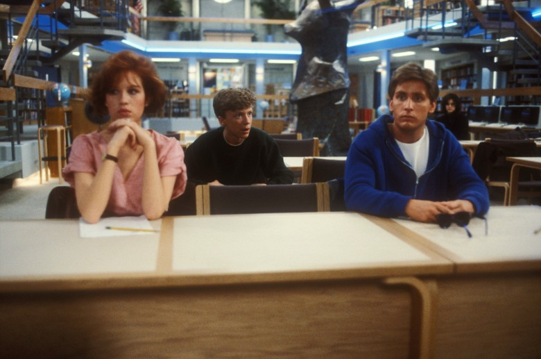 Editorial use only. No book cover usage.Mandatory Credit: Photo by Universal/Kobal/Shutterstock (5884966aa)Molly Ringwald, Anthony Michael Hall, Emilio EstevezThe Breakfast Club - 1985Director: John HughesUniversalUSAScene StillComedy/DramaBreakfast Club