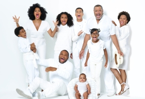 "BLACK-ISH - ABC's ""black-ish"" stars Miles Brown as Jack Johnson, Tracee Ellis Ross as Rainbow Johnson, Yara Shahidi as Zoey Johnson,  Anthony Anderson as Andre ""Dre"" Johnson, Marcus Scribner as Andre Johnson, Jr., Austin and Berlin Gross as Devonte Johnson, Marsai Martin as Diane Johnson, Laurence Fishburne as Pops Johnson and Jenifer Lewis as Ruby Johnson. (ABC/Bob D'Amico)"