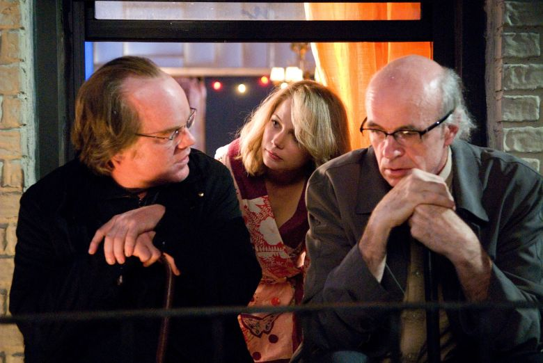 Editorial use only. No book cover usage.Mandatory Credit: Photo by Sidney Kimmel Entertainment/Kobal/Shutterstock (5884986e)Philip Seymour Hoffman, Michelle Williams, Tom NoonanNew York Synecdoche - 2008Director: Charlie KaufmanSidney Kimmel EntertainmentUSAScene StillDrama