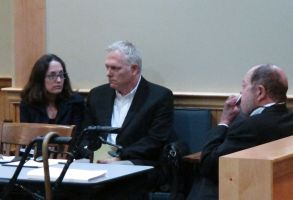 "Film director Randall Miller, center, sits in a Georgia courtroom with his wife, Jody Savin before pleading guilty to charges of involuntary manslaughter and criminal trespassing . Miller was filming ""Midnight Rider,"" a biographical movie about singer Gregg Allman, when a freight train plowed into his crew on a railroad bridge last year. Camera assistant Sarah Jones was killed and six others were injuredFilm Crew-Train Crash, Jesup, USA"