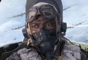 """David Oyelowo as """"Lightning"""" Little in """"Red Tails."""""""