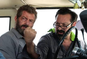 "James Mangold with Hugh Jackman on the set of ""Logan"""