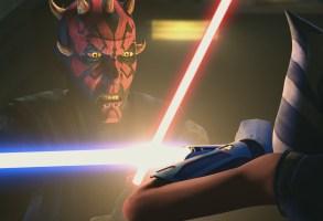 Darth Maul menaces Ahsoka Tano in 'The Clone Wars' finale.