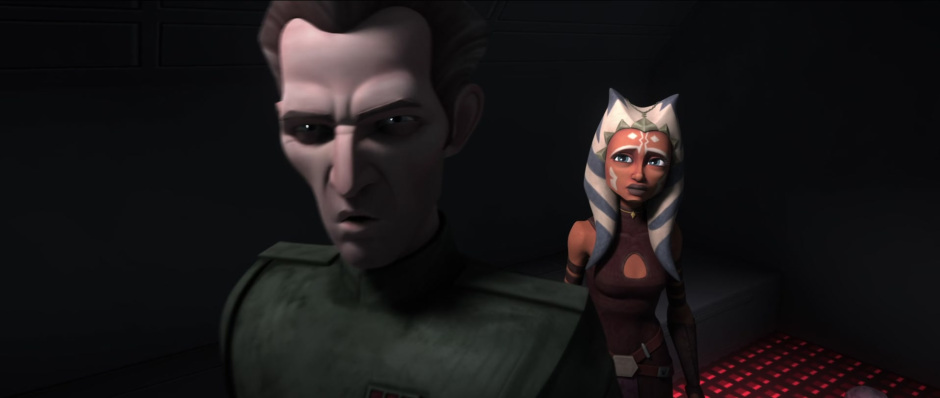 Admiral Tarkin (Stephen Stanton) threatens Ahsoka during the events that cause her to leave the Jedi Order.