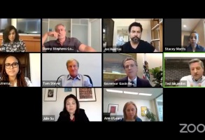 California Gov. Gavin Newsom's Wednesday Zoom call with industry leaders.