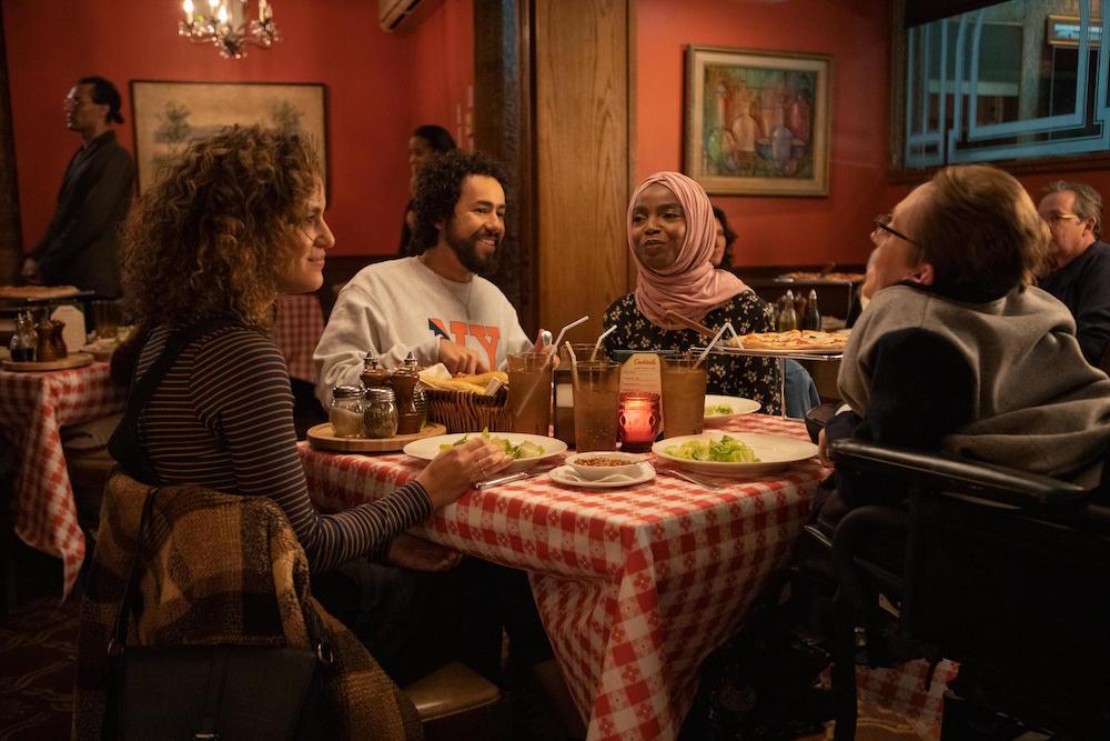 "Ramy -- ""miakhalifa.mov"" - Episode 204 -- have you clicked on me? Dena (May Calamawy), Ramy (Ramy Youssef), Zainab (MaameYaa Boafo) and Steve (Steve Way), shown. (Photo by: Craig Blankenhorn/Hulu)"