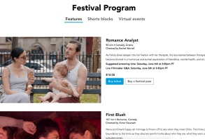 A screenshot of NewFilmmakers Los Angeles Film Festival's Seed&Spark page.