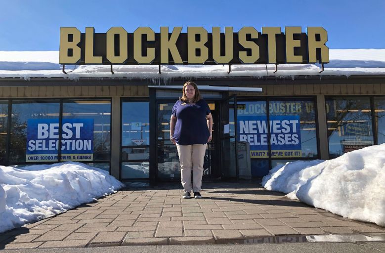 Sandi Harding, general manager of the last Blockbuster on the planet in Bend, Ore., poses for a photo outside the store. When a Blockbuster in Perth, Australia, shuts its doors for the last time on March 31, the store in Bend will be the only one left on EarthLast Blockbuster, Bend, USA - 11 Mar 2019