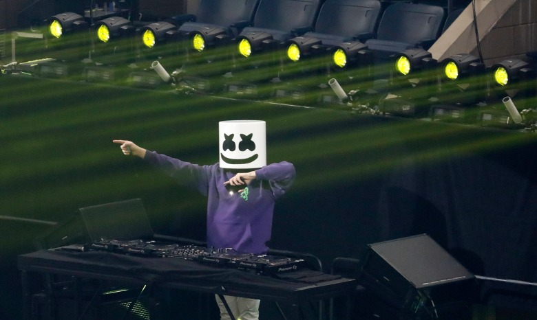 DJ Marshmello performs before the start of the finals of the Solo competition at the 2019 Fortnite World Cup at Flushing Meadows Arthur Ashe stadium in Queens, New York, USA, 28 July 2019.Fortnite World Cup Solo Final, Queens, USA - 28 Jul 2019