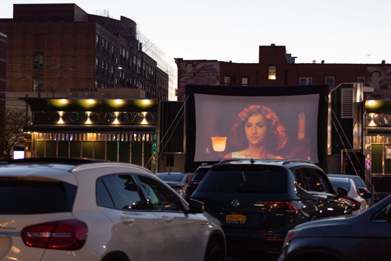 Queens residents were treated to a pop up drive-in viewing of 'Dirty Dancing' at the Bel-Aire Diner in Astoria'Dirty Dancing' drive-in screening during Covid-19 coronavirus outbreak, New York, USA - 13 May 2020