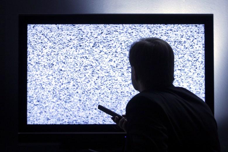 Model released - man in front of flat digital television screenMan in Front of Flat Television Screen - Jan 2008