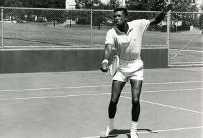 Arthur Ashe During Practice At The University Of California In Los Angeles, 1966Various'At The University Of California In Los Angeles Displays The Form That Has Earned Him The Rating As One Of The Top Tennis Players In The World Today. In 1965 He Became The First Negro To Play On A U.s. Davis Cup Team'