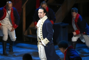 """Lin-Manuel Miranda and the cast of """"Hamilton"""" perform at the Tony Awards at the Beacon Theatre on Sunday, June 12, 2016, in New York. (Photo by Evan Agostini/Invision/AP)"""