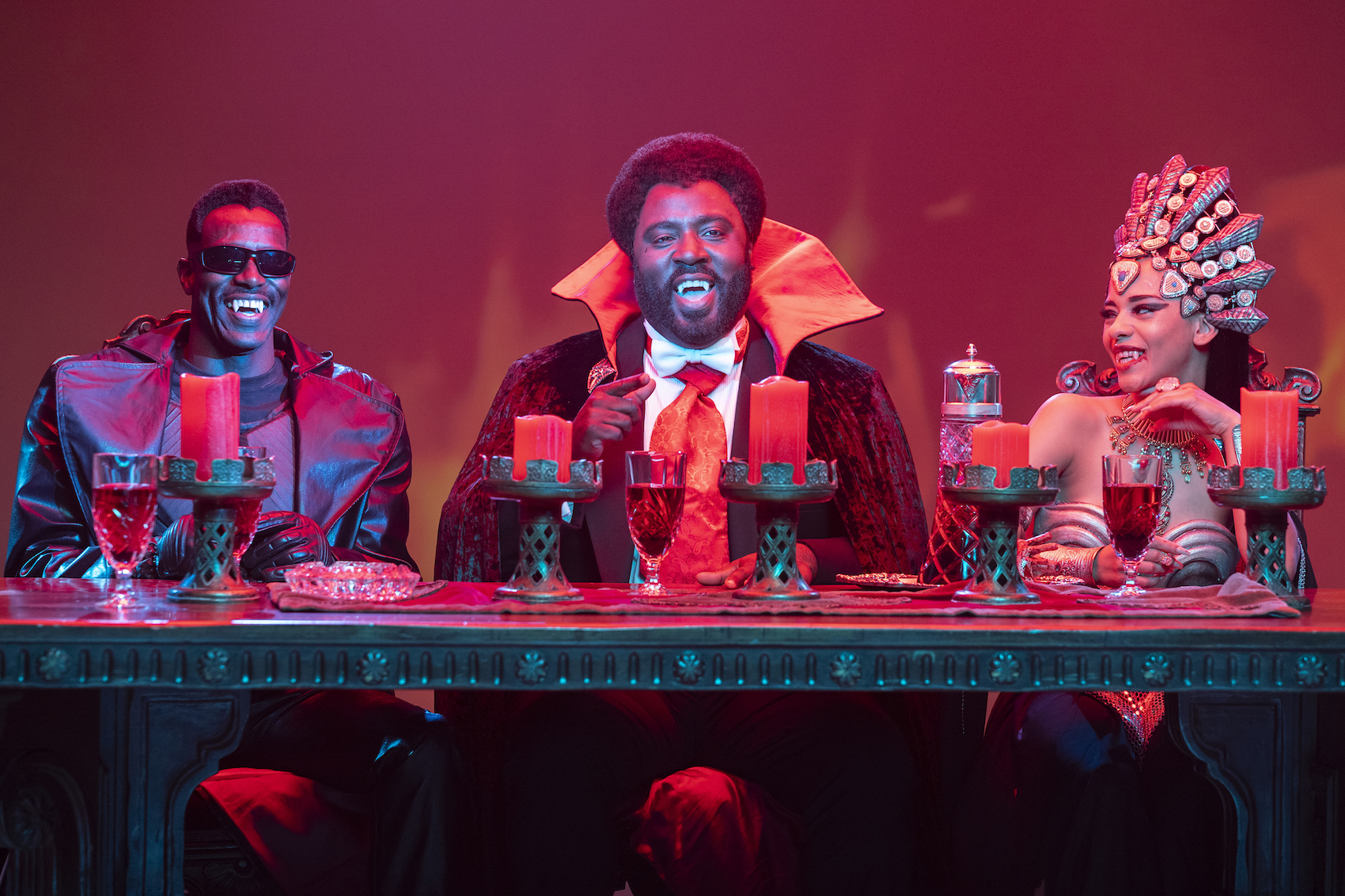 Lanre Idewu as Blade, Bashir Salahuddin as Black Dracula, Jazzma Crofton as Queen Azasha - Sherman's Showcase Spectacular - Photo Credit: Michael Moriatis/IFC