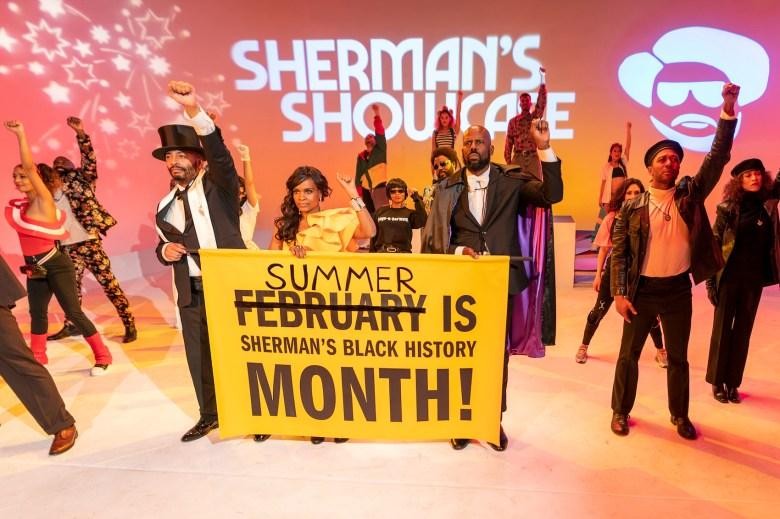 Evan Williams as Sherman's Dancer, Nefetari Spencer as Sherman's Dancer/2020/NEF, Craig Bowers as Sherman's Dancer/2020 - Sherman's Showcase Spectacular - Photo Credit: Michael Moriatis/IFC