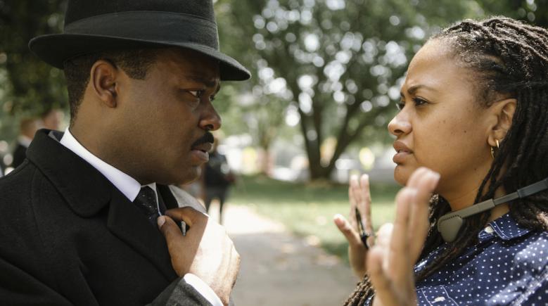 "David Oyelowo and Ava Duvernay on the set of ""Selma"""