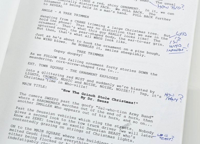 Editorial use onlyMandatory Credit: Photo by propstore.com/Shutterstock (10375189un)Rick Baker's annotated third draft script from the production of Ron Howard's family comedy How the Grinch Stole Christmas. Estimate: £600 - £800.Prop Store's Entertainment Memorabilia Live Auction, London, UK - Aug 2019