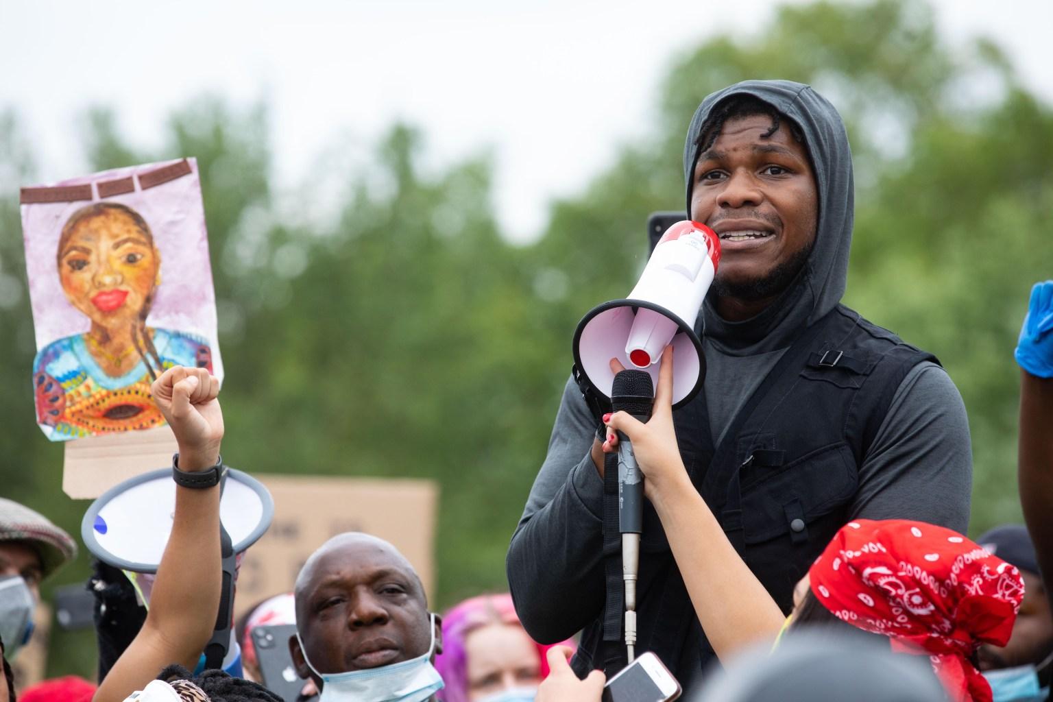 Star Wars actor John Boyega speaks in Hyde Park, London in support of the Black Lives Matter movement  David Parry/Shutterstock