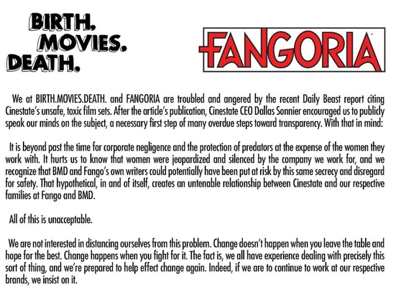An excerpt from Birth.Movies.Death. and Fangoria editors' letter to Cinestate leaders.