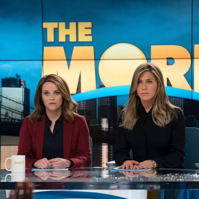 "Reese Witherspoon and Jennifer Aniston on ""The Morning Show."""