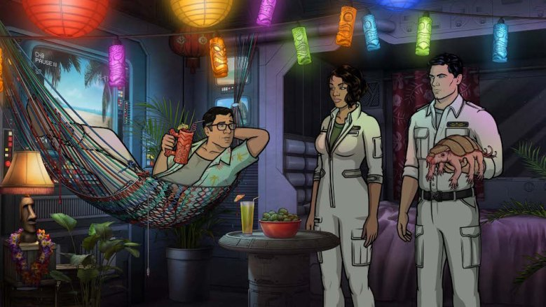 "ARCHER: 1999 -- ""The Leftovers"" -- Season 10, Episode 3 (Airs Wednesday, June 12, 10:00 p.m. e/p) Pictured (l-r): Cyril Figgis (voice of Chris Parnell), Lana Kane (voice of Aisha Tyler), Sterling Archer (voice of H. Jon Benjamin). CR: FXX"