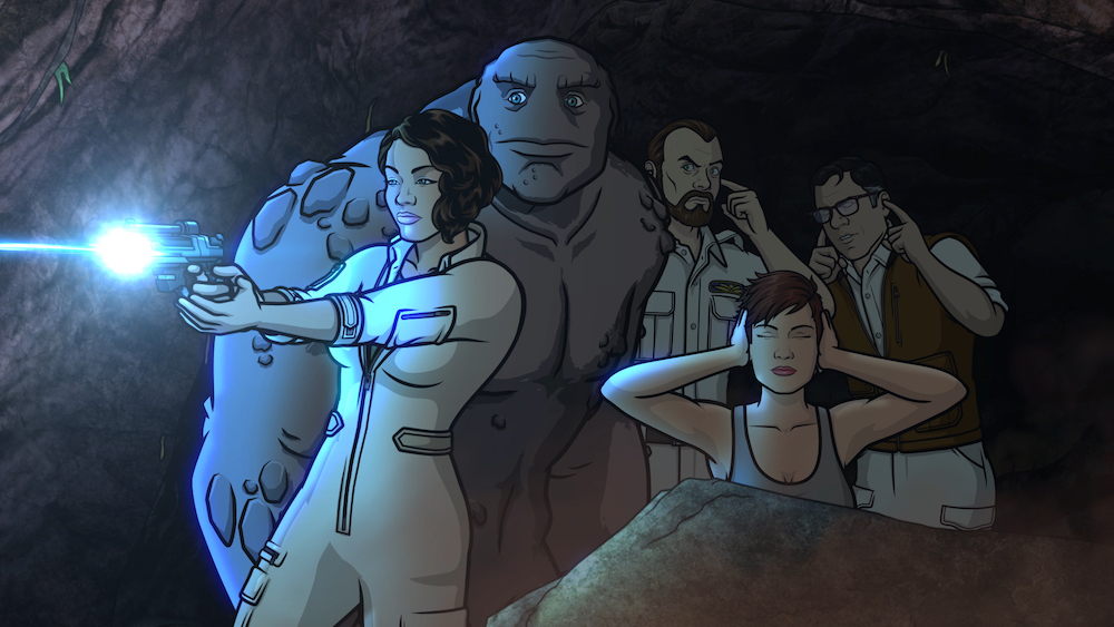 "ARCHER: 1999 -- ""Road Trip"" -- Season 10, Episode 6 (Airs Wednesday, July 10, 10:00 p.m. e/p) Pictured (l-r): Lana Kane (voice of Aisha Tyler), Pam Poovey (voice of Amber Nash), Algernop Kreiger (voice of Lucky Yates), Cheryl/Carol Tunt (voice of Judy Greer), Cyril Figgis (voice of Chris Parnell). CR: FXX"