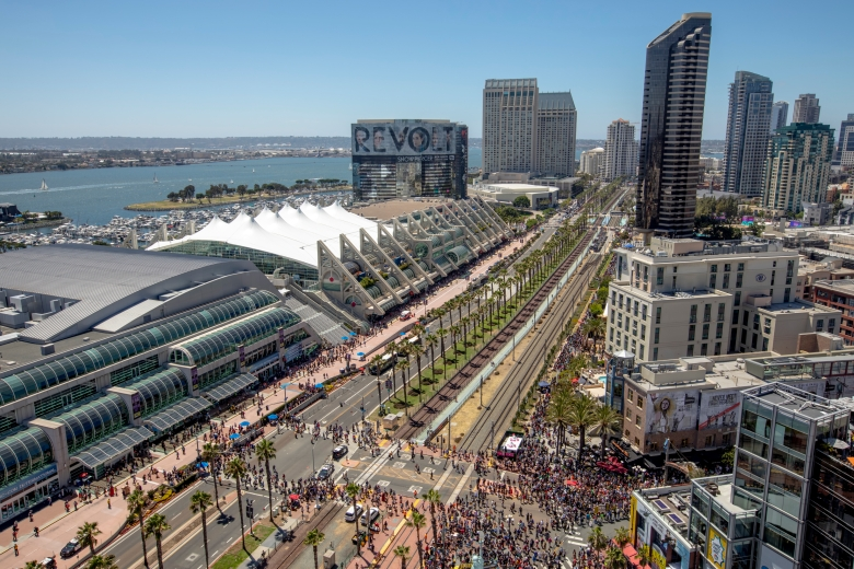 Downtown San Diego Convention Center is seen from the Omni Hotel on Day Three at Comic-Con International on Saturday, July 20, 2019, in San Diego, Calif. (Photo by Christy Radecic/Invision/AP)